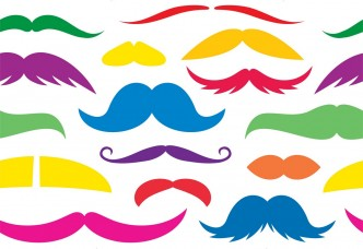 Colorful mustache seamless pattern.