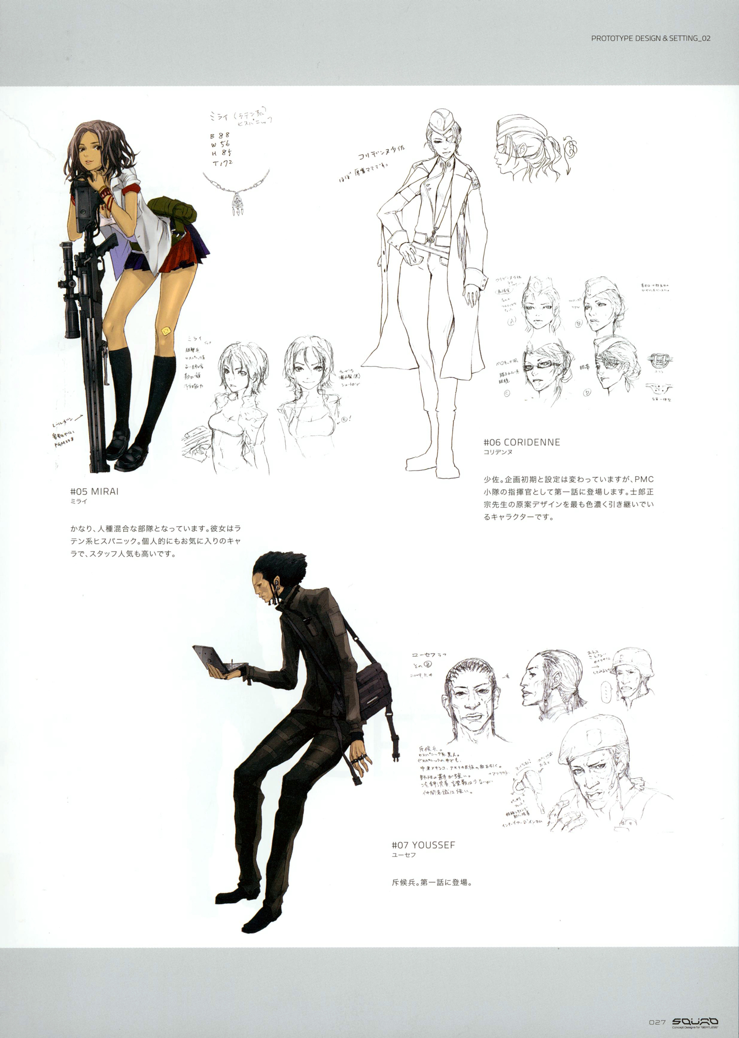 """Chara-design de quelques personnages de l'oeuvre """"Beatless"""""""